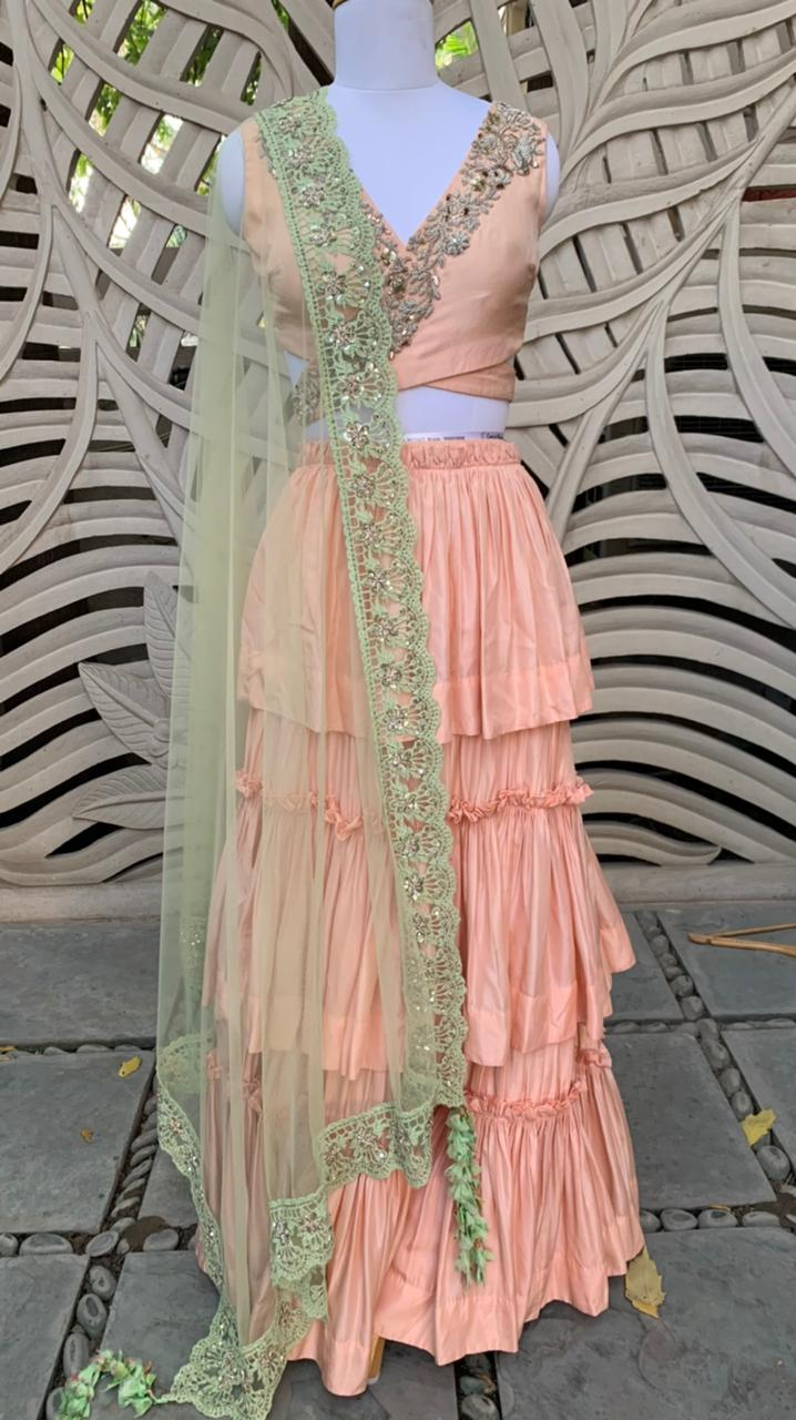 Peach Tiered Lehenga With Dupatta Set Of 3