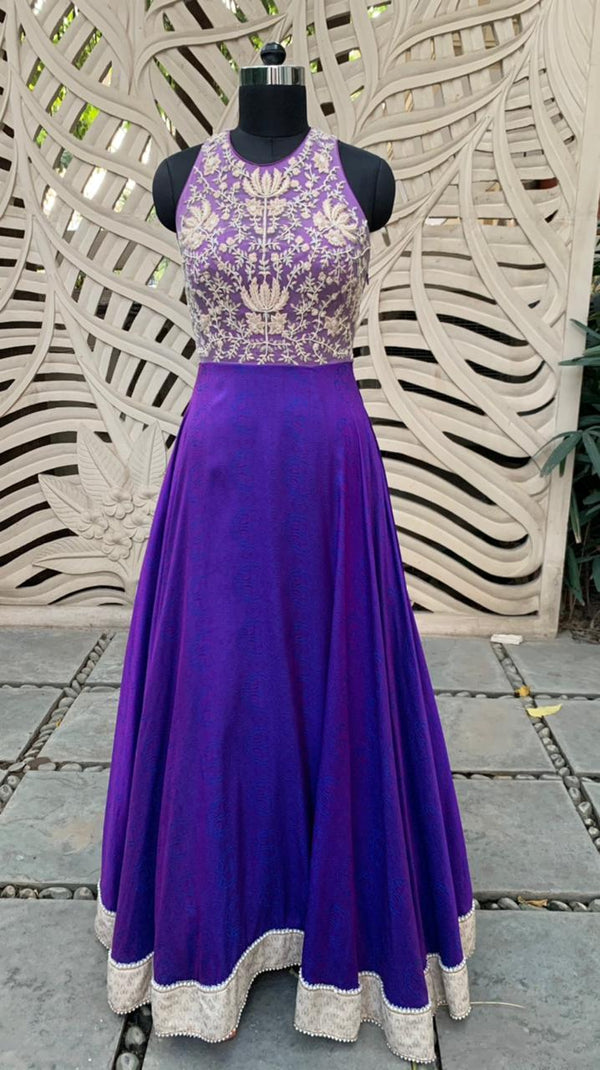 Purple Embroidered Gown