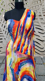 Multicolor Off Shoulder Gown