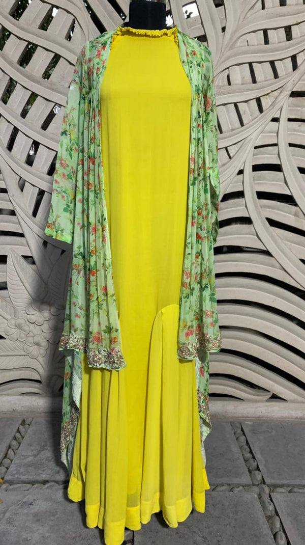Yellow Godet Dress With Embroidered Cape