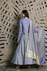 Blue  Embroidered  Angrakha  Lehenga - Set Of 3