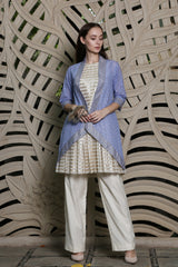 Blue Chanderi Open Jacket With Sleeves