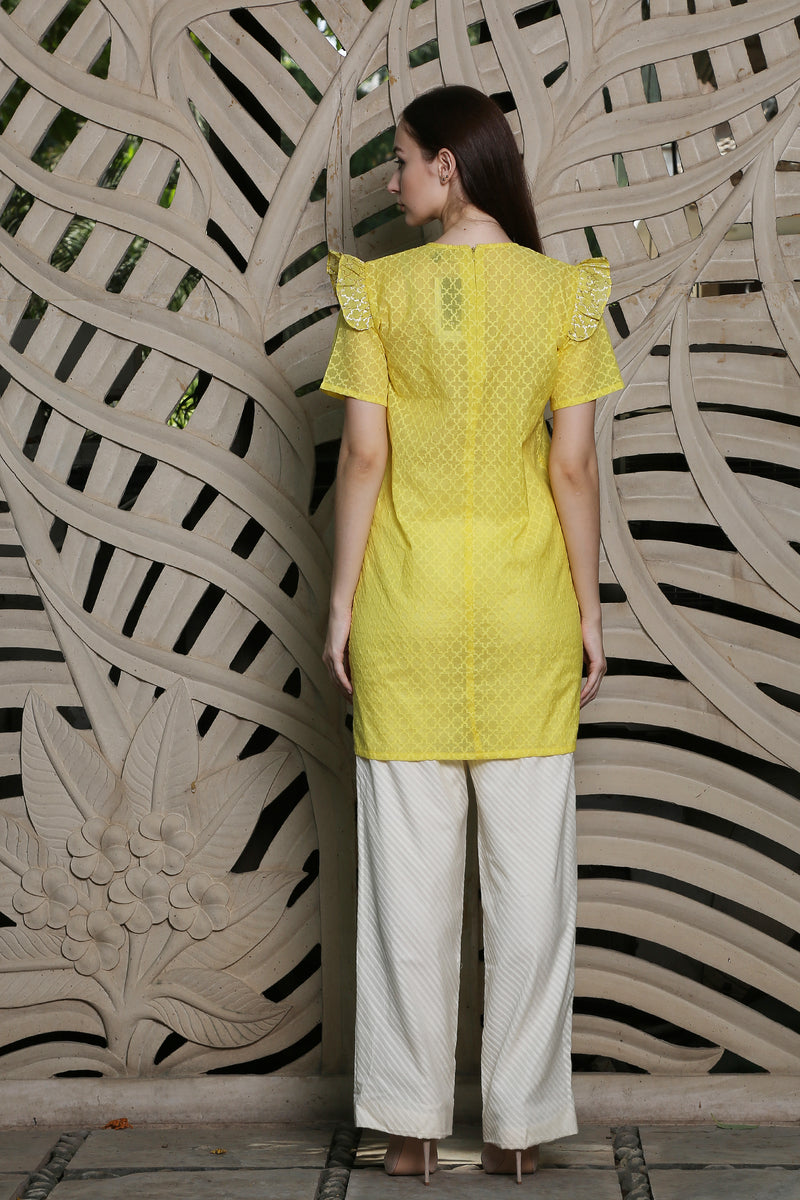 Yellow Straight Top With  Frill Sleeves