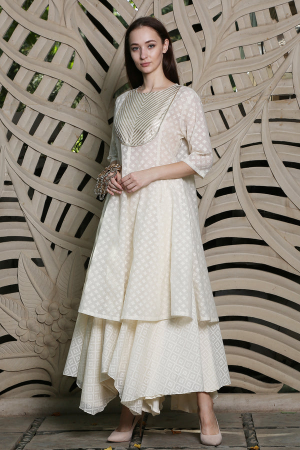 Ivory Stripped Yoke Kurta