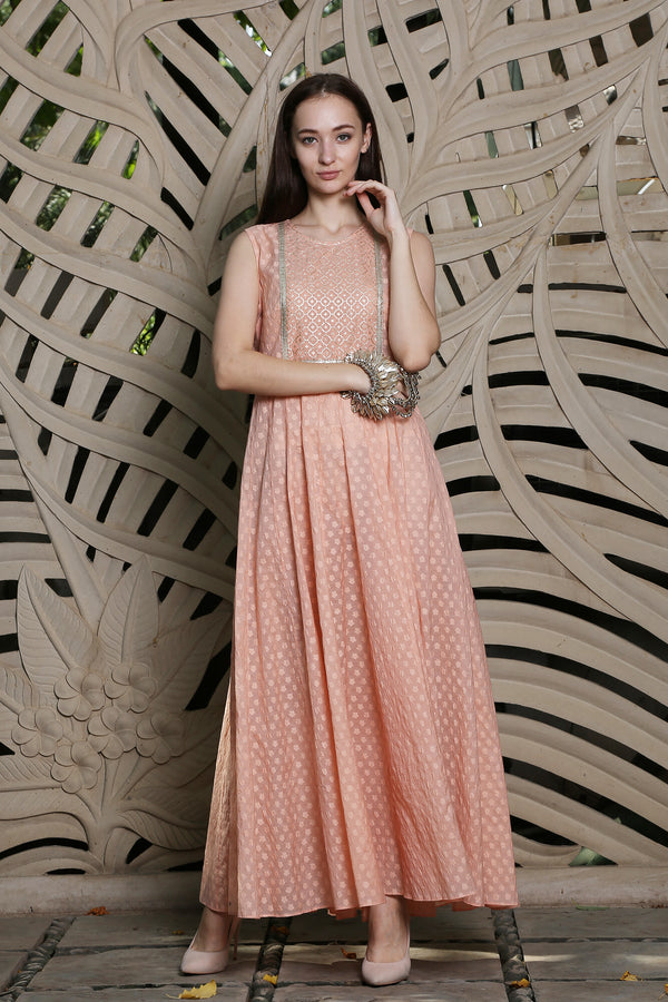 Peach Anarkali Kurta With Lurex Yoke