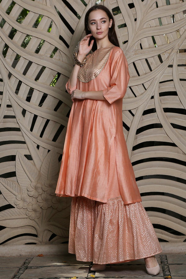 Peach Stipped Yoke Kurta