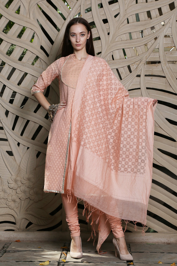 Peach Chanderi Dupatta