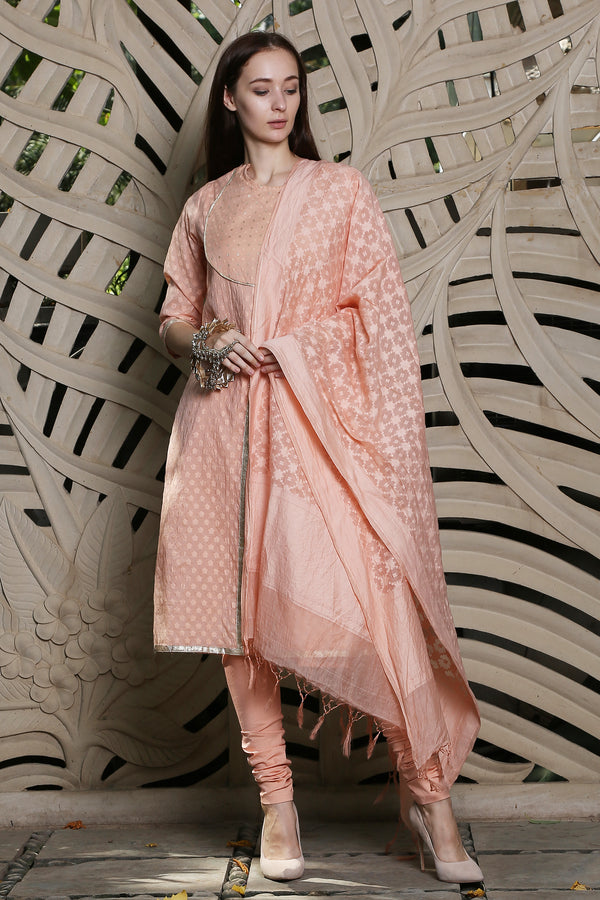 Peach Angrakha Kurta Set Of 3