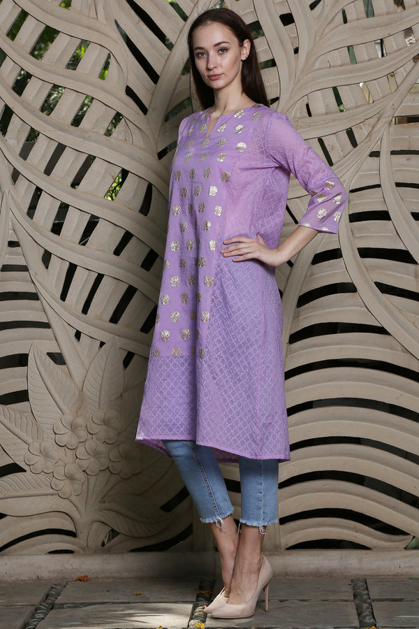 Purple Straight Kurta With Lotus Patch