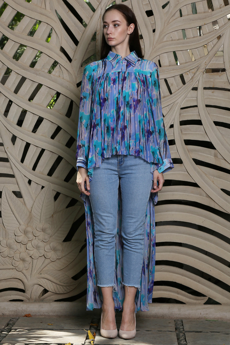 Blue Printed  Pleated Long Shirt