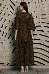 Green Batik Jumpsuit With Bell Sleeves