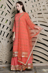 Apricot Double Layer Kurta Set