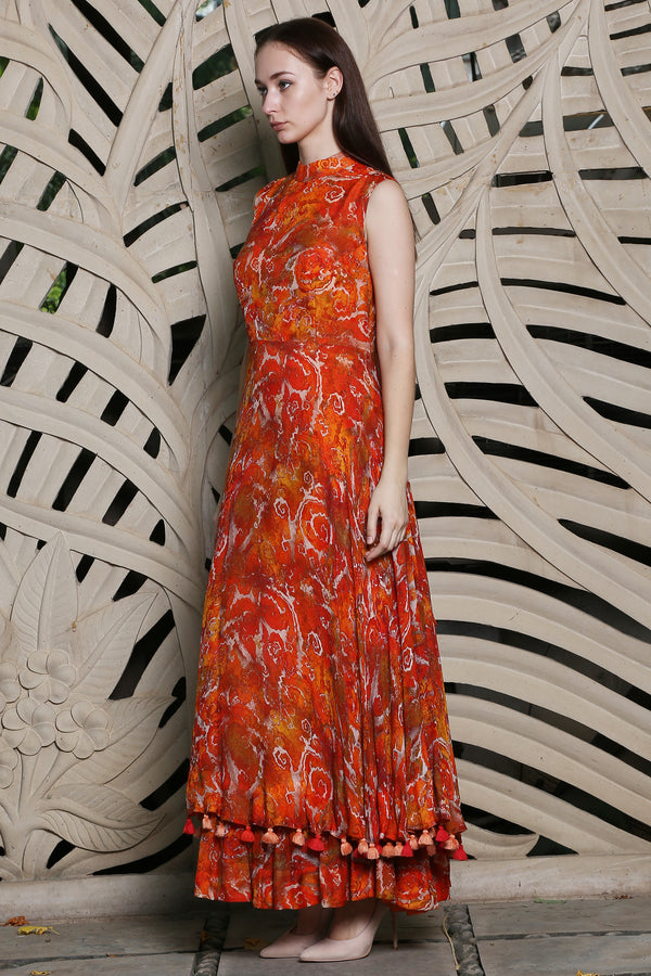Orange Printed Bow Maxi