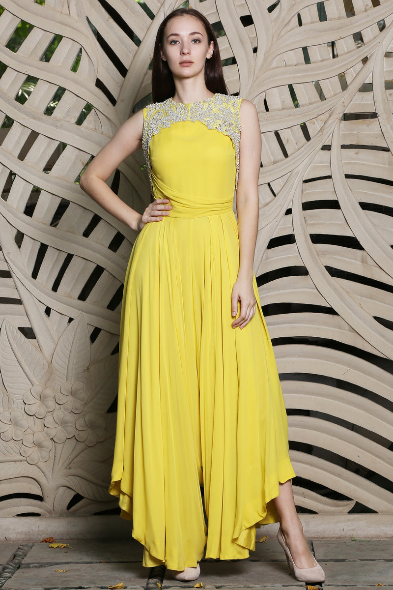 Yellow Jumpsuit With Embroidered Bandi