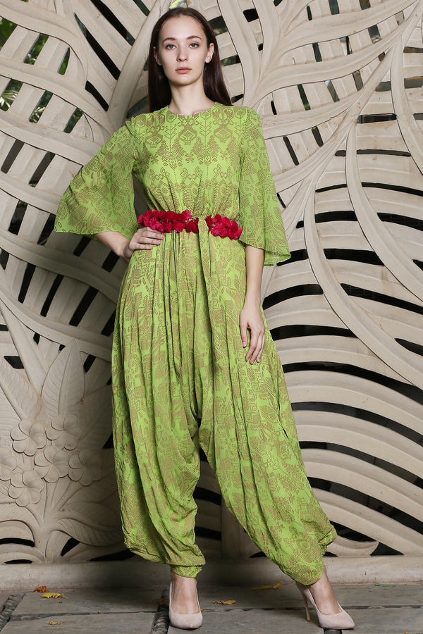 Green Jumpsuit With Bell Sleeves