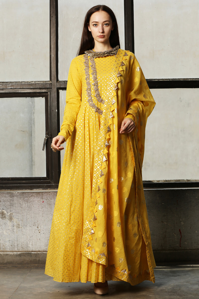 Mango Embroidered Anarkali  With Churidar - Set of 2
