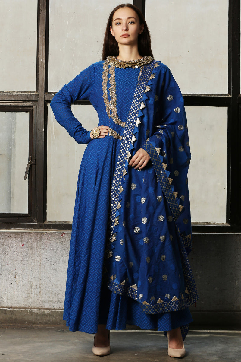 Blue Embroidered Anarkali With Churidar - Set Of 2