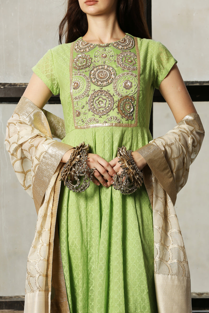 Green Embroidered Yoke Kurta - Set Of 3
