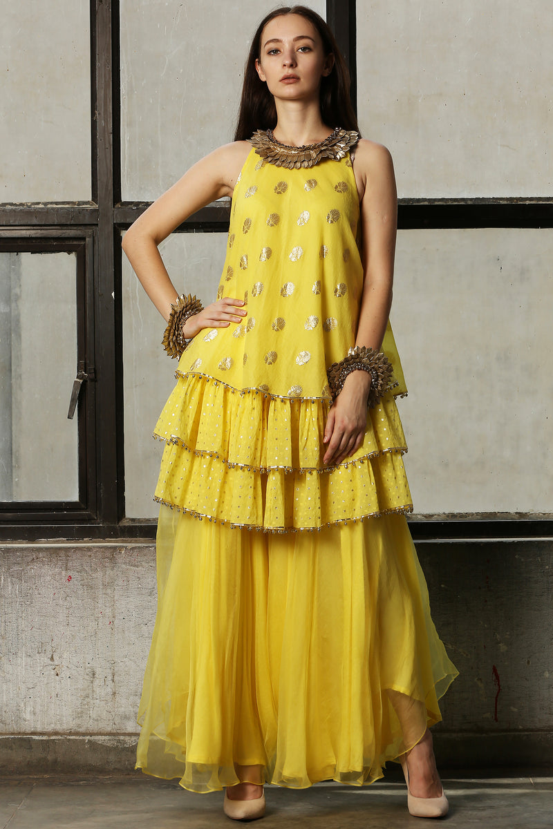 Lemon Yellow  Layered Kurta With Pant - Set Of 2