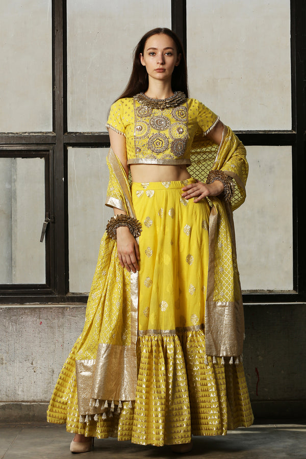 Lemon Yellow Embroidered Blouse With Lehenga And Dupatta - Set Of 3