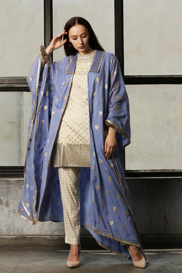Blue Assymetric Kimono Jacket  - Set Of 1
