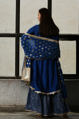 Peacock Blue Chanderi Sharara