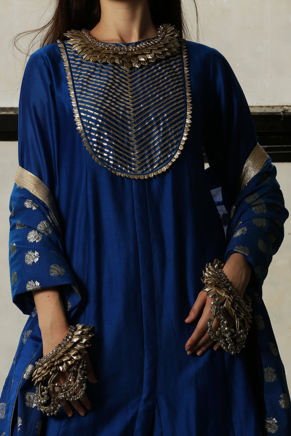 Blue Chanderi Kurta  - Set Of 3