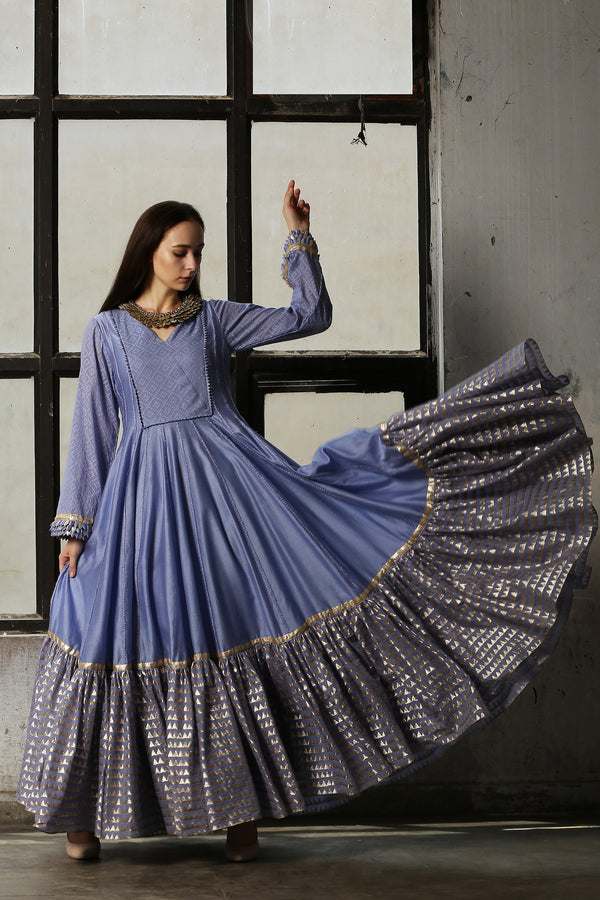 Blue Anarkali With Churidar - Set of 2