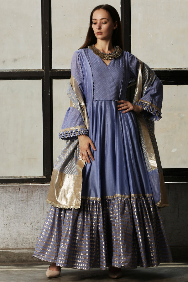 Blue Anarkali With Striped Dupatta - Set Of 3