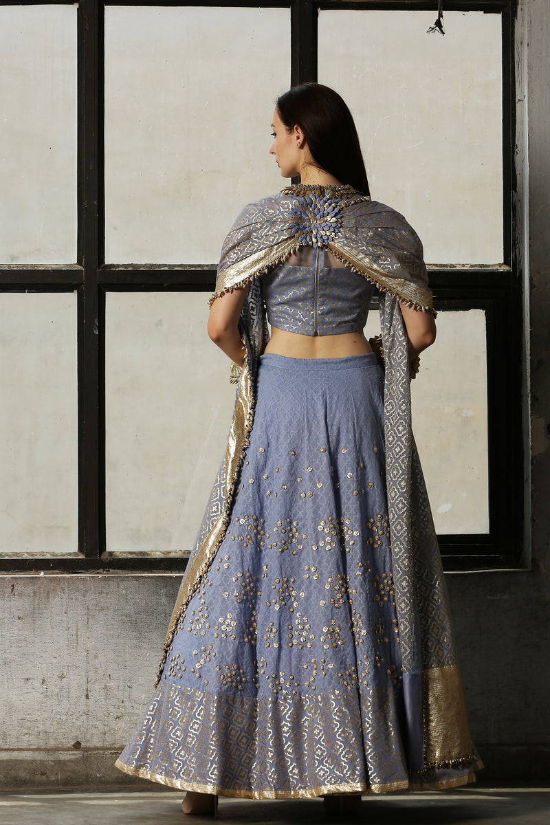 Blue Embroidered Lehenga With Cape - Set Of 3
