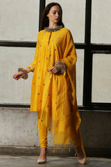 Mango Loops Kurta With Churidar - Set Of 3