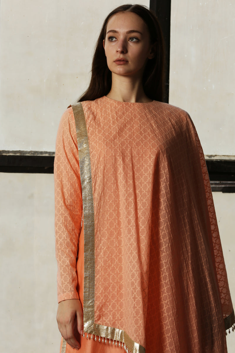 Pink Draped Kurta With Churidar - Set Of 2