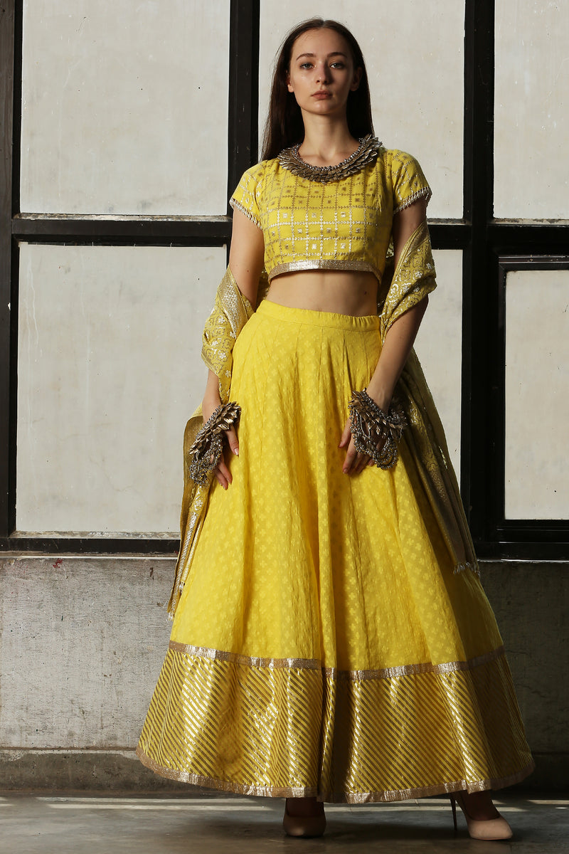Lemo Yellow Chanderi Lehenga