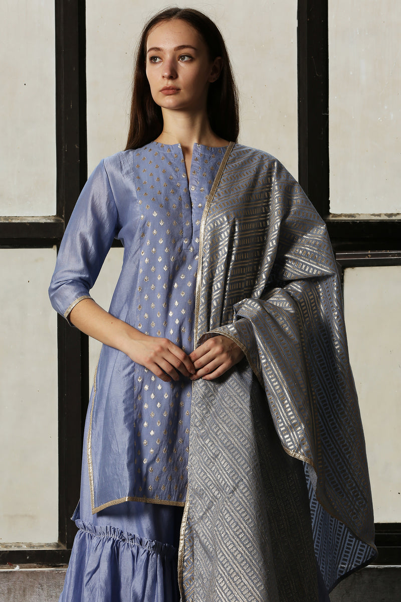 Blue Chanderi Kurta Set Of 3