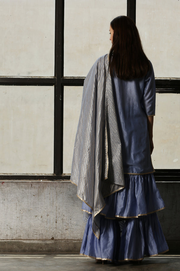 Blue Chanderi Sharara