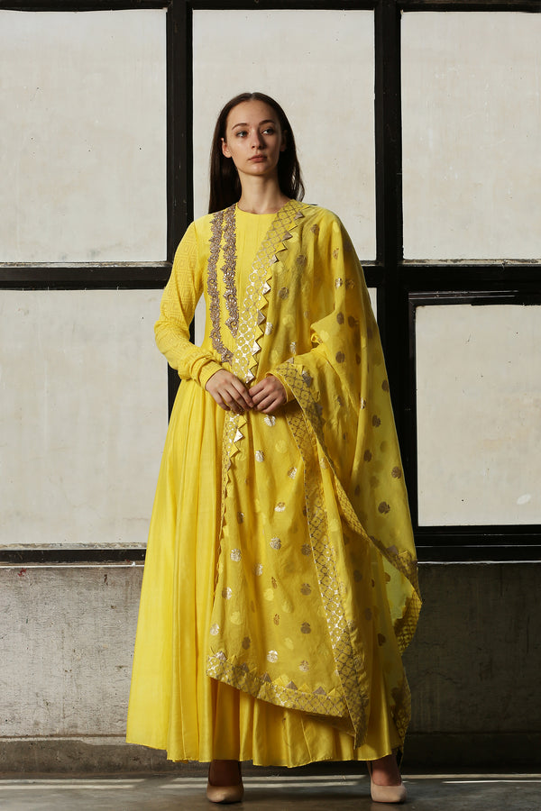 Lemon Yellow Embroidered Anarkali - Set Of 3