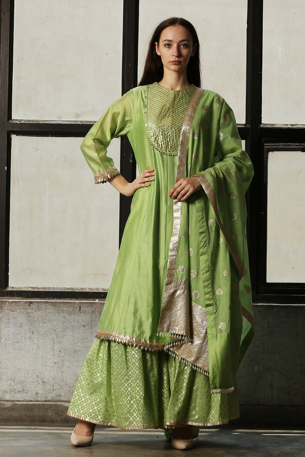 Green Chanderi Sharara