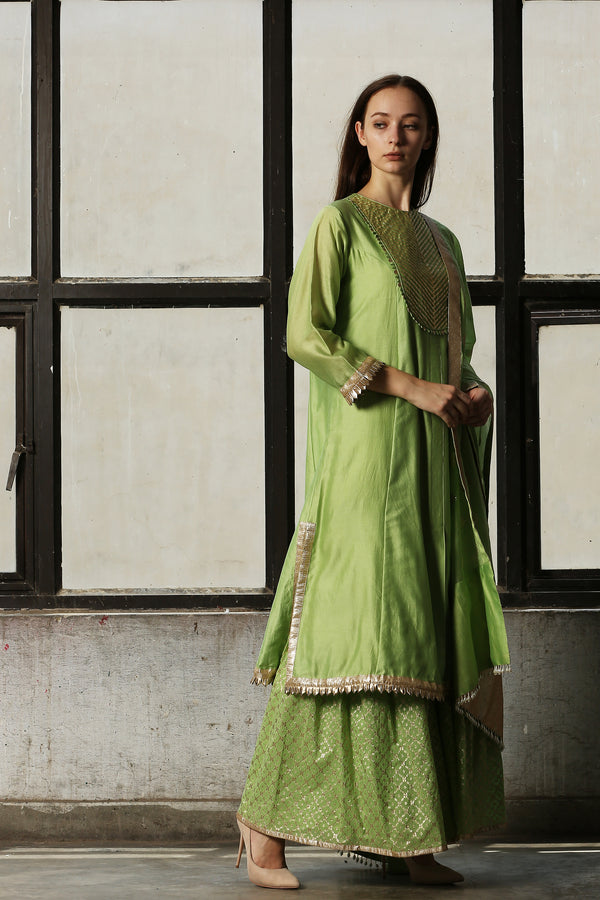 Green Chanderi Kurta