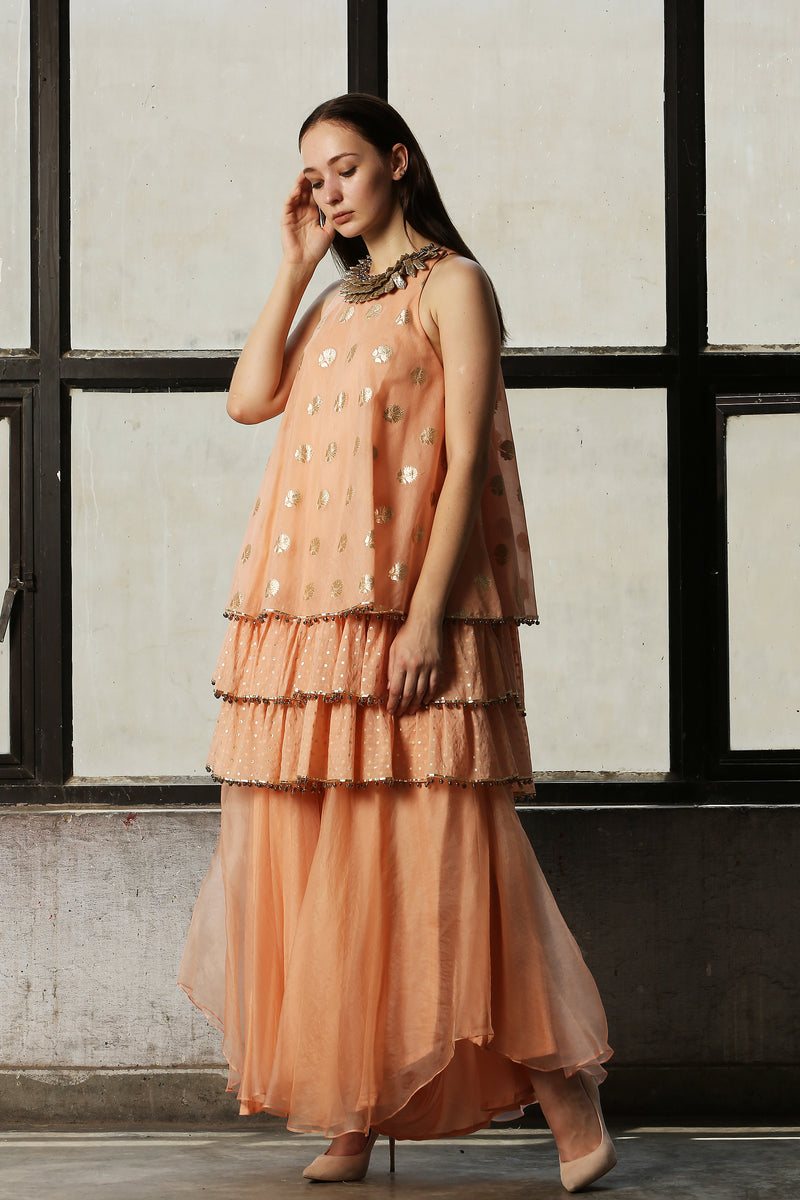 Pink Layered Kurta With Pant - Set Of 2