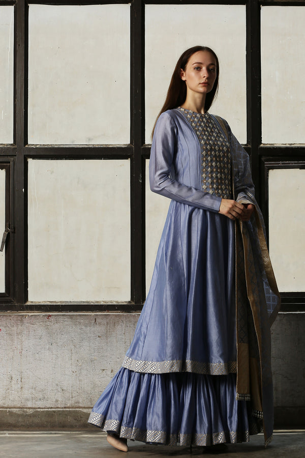 Blue Pearl Yoke Anarkali With Churidar  - Set Of 2