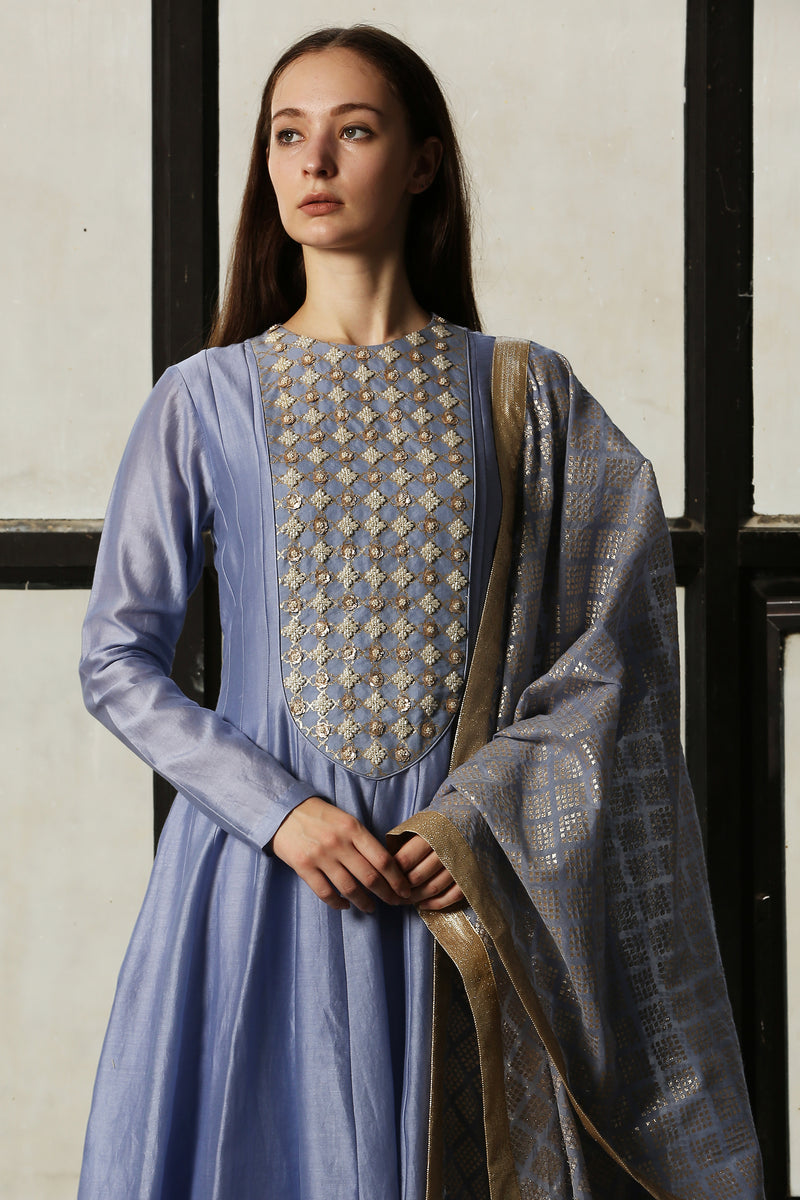 Blue Chanderi Dupatta Only