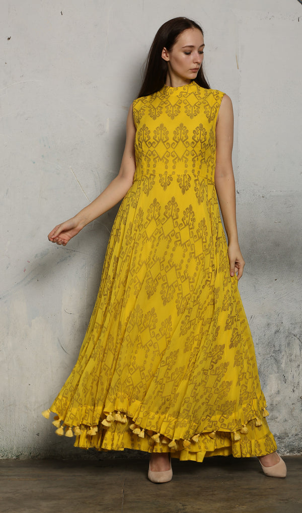 Yellow Printed Bow Maxi