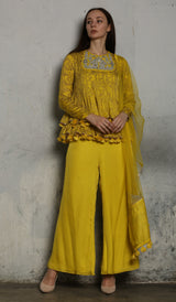 Yellow Printed Short Anarkali With Pant and Dupatta