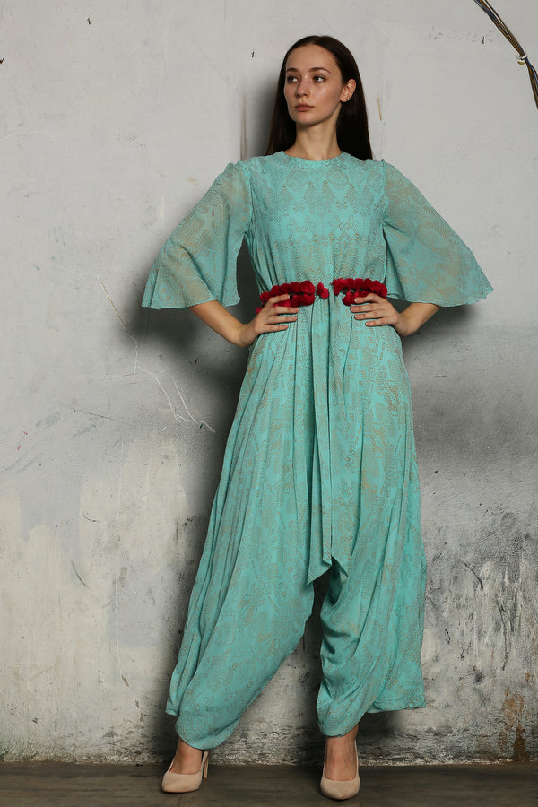 Mint Printed Jumpsuit With Bell Sleeves