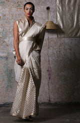 Ivory Hand Embroidered Saree