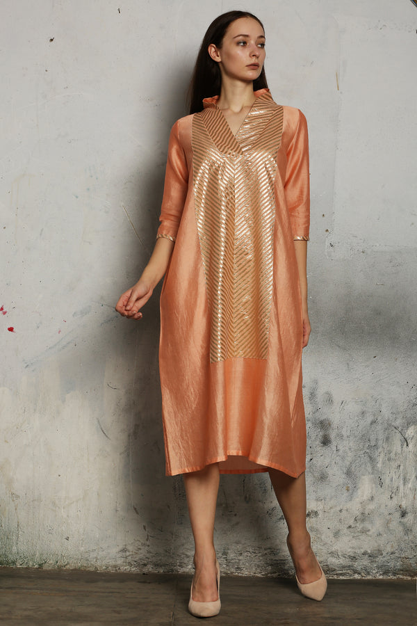 Peach Chanderi Kurta With Stipped Patch