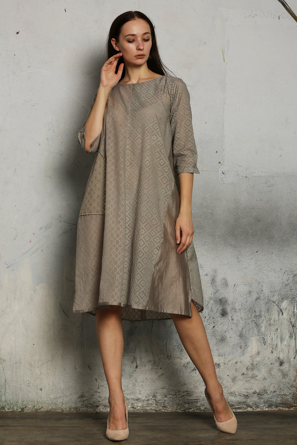 Grey Chanderi Kurta With Lurex Pocket