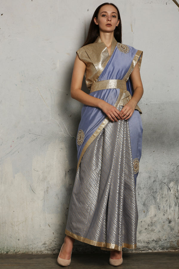 Blue Hand Embroidered Saree Only