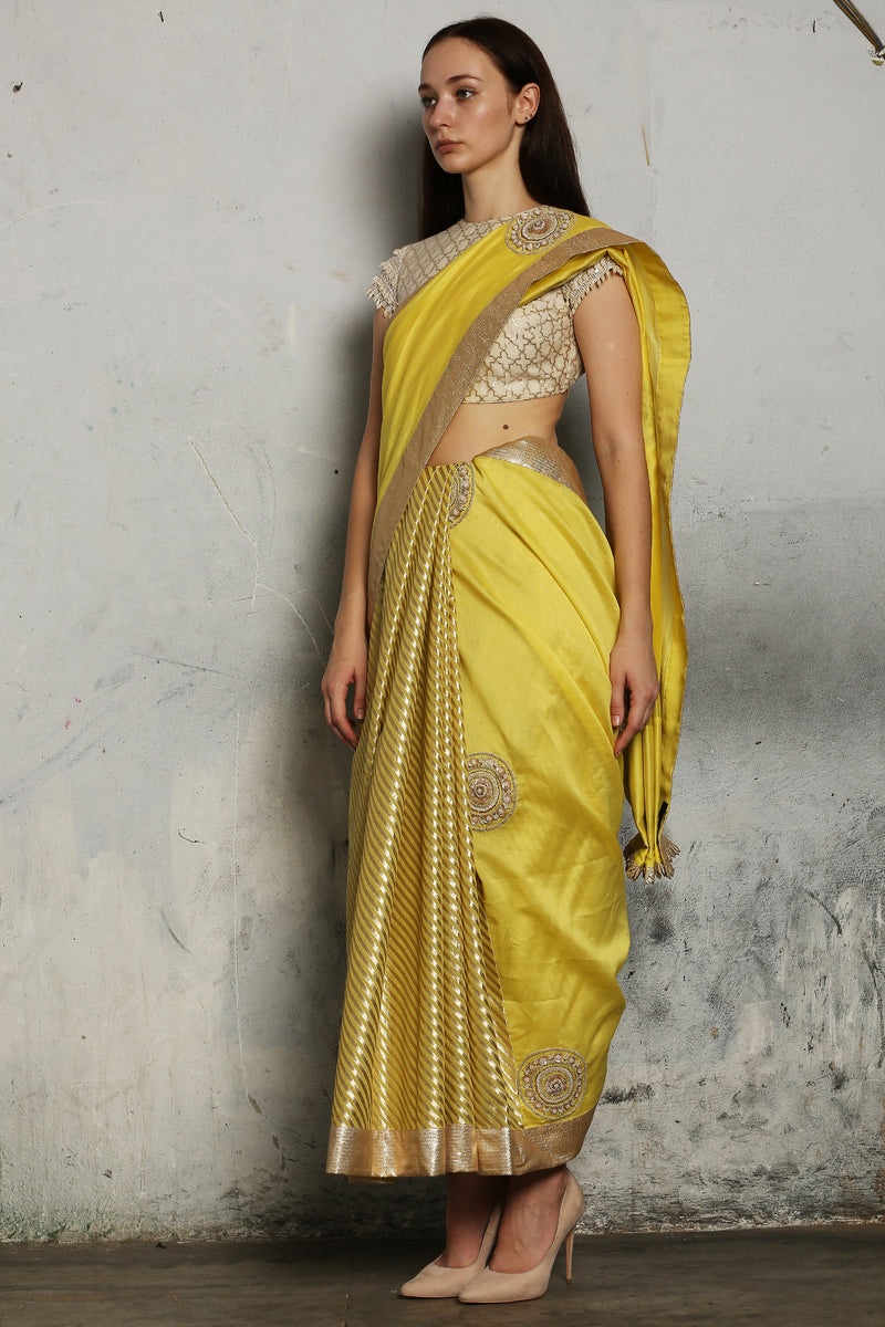 Yellow Hand Embroidered Saree