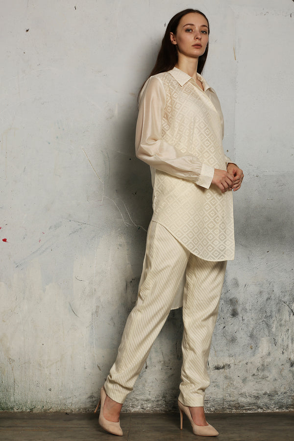 Ivory Chanderi Long Shirt